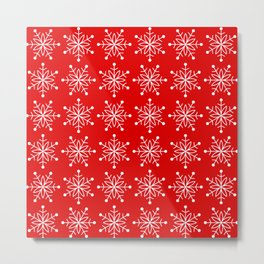 Christmas Snowflake Stars Pattern in Holly Jolly Red Metal Print
