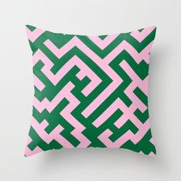 Cotton Candy Pink and Cadmium Green Diagonal Labyrinth Throw Pillow