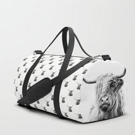 portrait of a highland cow Duffle Bag