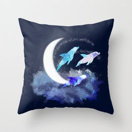 Dolphins in the moonlight Throw Pillow