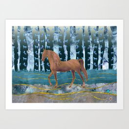 A Wild Horse in a Forest of Dreams Art Print
