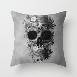 Garden Skull B&W Throw Pillow