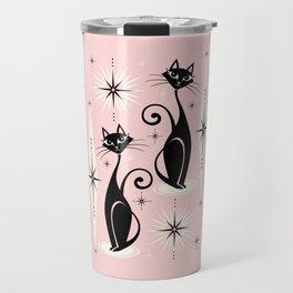 Mid Century Meow Retro Atomic Cats ©studioxtine Travel Mug