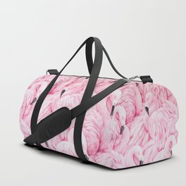 Elegant blush pink flamingo tropical bird pattern Duffle Bag