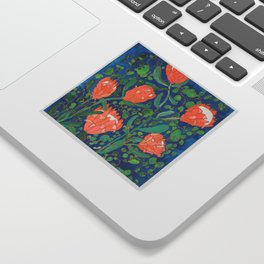 Coral Proteas on Blue Pattern Painting Sticker