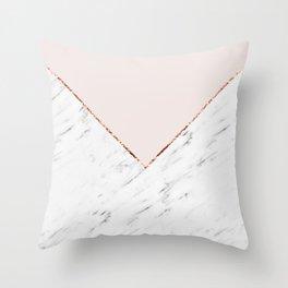 Peony blush geometric marble Throw Pillow