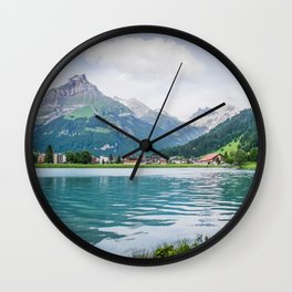 Blue Mountains and Lake | Europe Switzerland Nature Landscape Photography Wall Clock