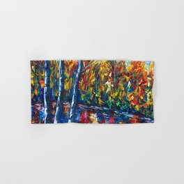 Autumn Forest with a Palette Knife Painting Hand & Bath Towel