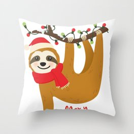 Sloth Merry Christmas Shirt, Lazy Sloth Christmas Throw Pillow