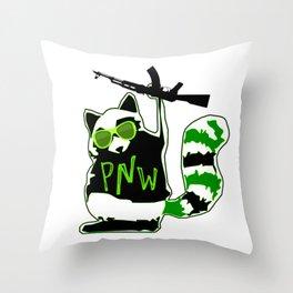PNW Rebel Raccoon AK47 Throw Pillow