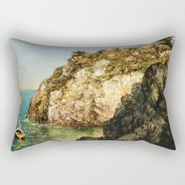 Boat Moored at Fort Wetherill, Conanicut Island, Jamestown, Rhode Island by James Gale Tyler Rectangular Pillow