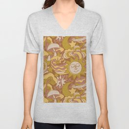 Psychedelic Daydream in Gold + Mauve Unisex V-Neck