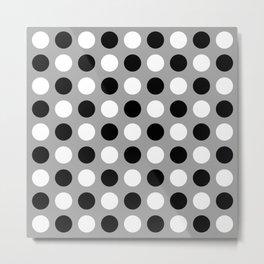 Mid Century Modern Polka Dots 922 Black White and Gray Metal Print