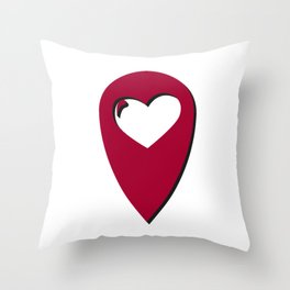 """Map pin """"Home is where your heart is"""" Throw Pillow"""