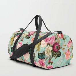 Vintage & Shabby Chic - Summer Teal Roses Flower Garden Duffle Bag