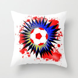 Soccer Ball Comic Boom Throw Pillow