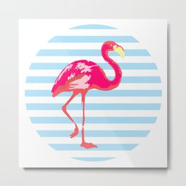 Flamingo, Summer Poster, blue stripes, rounded version Metal Print