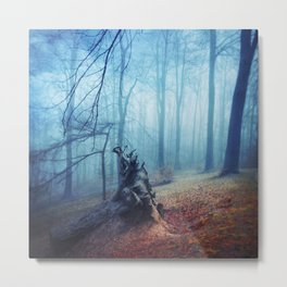 Silent Sadness - Fall Forest in Fog Metal Print