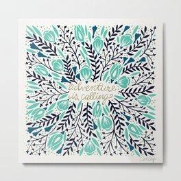 Adventure is Calling – Navy & Mint Palette Metal Print