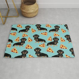 dachshund pizza black and tan doxie dog breed cute pattern gifts Rug