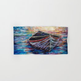Wooden Boat at Sunrise Painting with a Palette Knife Hand & Bath Towel