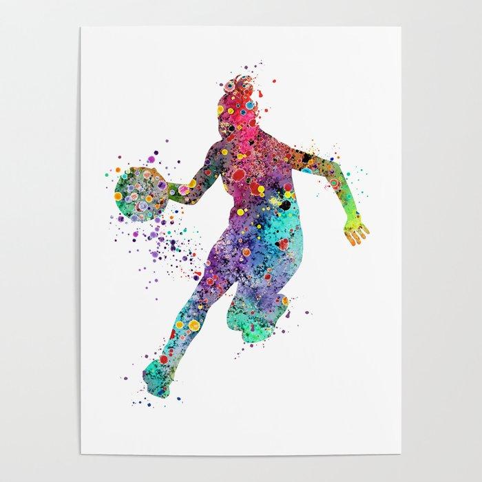 Girl Basketball Watercolor Print Basketball Wall Art Basketball Poster Basketball Wall Decor Poster