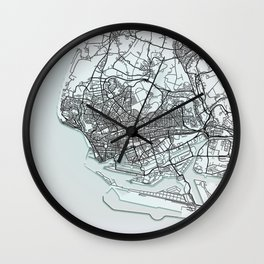 Le Havre, France, White, City, Map Wall Clock