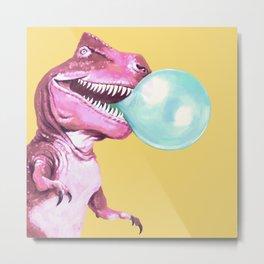 Bubble Gum Pink T-rex in Yellow Metal Print