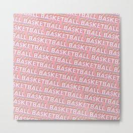Basketball Trendy Rainbow Text Pattern (Pink) Metal Print