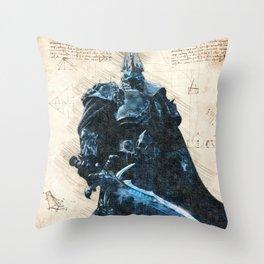 Arthas Lich King wow da vinci style sketch Throw Pillow