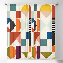 mid century retro shapes geometric Blackout Curtain