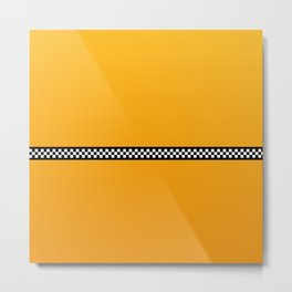 NY Taxi Cab Yellow with Black and White Check Band Metal Print