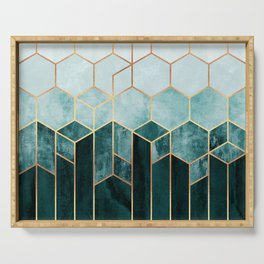 Teal Hexagons Serving Tray