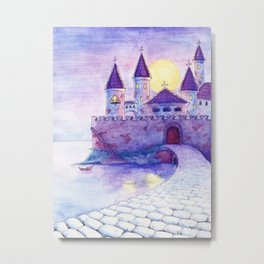 Fantasy purple castle on the river and a lonely boat at dawn Metal Print