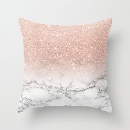 Modern faux rose gold pink glitter ombre white marble Throw Pillow