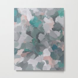 Mint Teal Blue Coral Pink Heather Gray Abstract Flower Wind Expressive Painting Modern Wall Art Metal Print