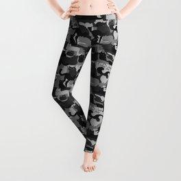 Grey Camouflage Cats Pattern | Gray Kitty Camo Leggings