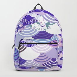 Nature background with japanese sakura flower, Cherry, wave circle. Ultra Violet Color of the Year Backpack