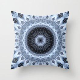 Silver and gray mandala Throw Pillow