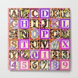 Pink Pastel Alphabet Pattern Metal Print