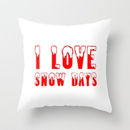 I Love Snow Days Red Throw Pillow