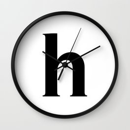 h (BLACK & WHITE LETTERS) Wall Clock