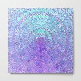 Mandala Flower in Light Blue and Purple Metal Print