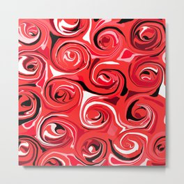 Red Apple Abstract Swirls Pattern Metal Print