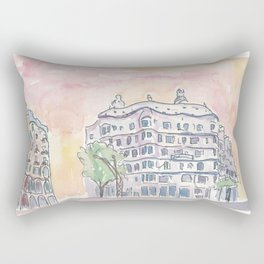 Barcelona Gaudi Houses Casa Batllo and Casa Mila Rectangular Pillow