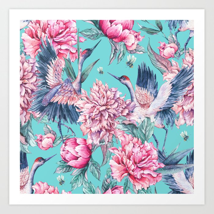 Teal peonies and birds Art Print