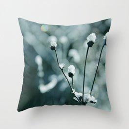 Blue frozen plants Throw Pillow