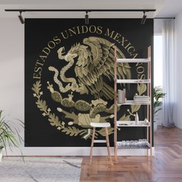 Mexican flag seal in sepia tones on black bg Wall Mural