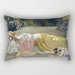 Maxfield Parrish Sleeping Beauty in the Woods Rectangular Pillow