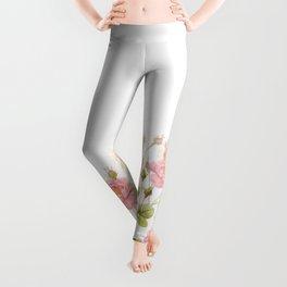 Vintage & Shabby Chic - Sepia Roses Flower Garden Leggings